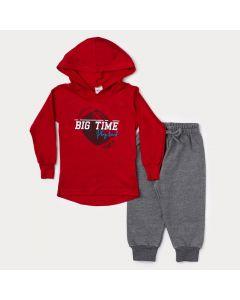 Conjunto de Inverno Infantil Masculino Camiseta Vermelha Estampada e Calça Cinza