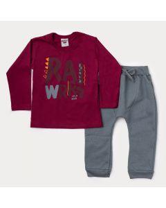 Conjunto Infantil Masculino de Inverno Blusa Vermelha Estampada e Calça Cinza