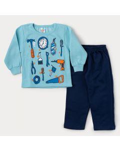 Conjunto de Inverno para Menino Casaco Azul Ferramentas e Calça Marinho