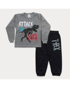 Conjunto de Moletom Infantil Masculino Casaco Cinza T-Rex Calça Preta