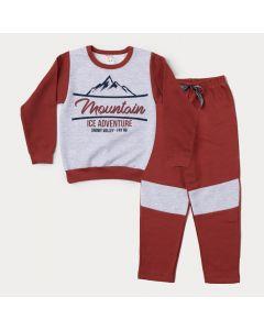 Conjunto de Inverno Infantil Masculino Casaco Cinza Estampado e Calça Marrom