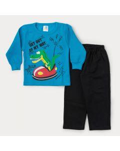 Conjunto de Inverno para Menino Casaco Azul Jacaré e Calça Preta
