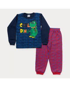 Conjunto de Inverno Infantil Masculino Casaco Marinho Dinossauro Calça Vermelha