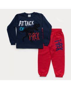 Conjunto de Moletom Infantil Masculino Casaco Marinho T-Rex Calça Vermelha