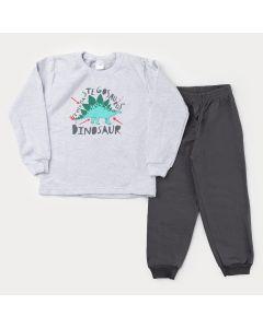 Conjunto de Inverno para Menino Casaco Mescla Dinossauro e Calça Cinza