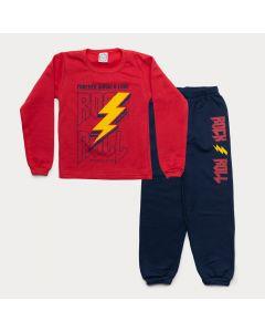 Conjunto para Menino de Inverno Casaco Vermelho Estampado Calça Marinho