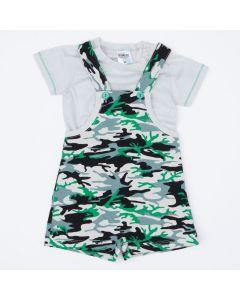 Jardineira de Verão Verde Militar com Blusa Branca Básica para Bebê Menino