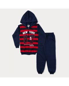 Conjunto Infantil Masculino de Inverno Jaqueta Vermelha Listrada e Calça Marinho