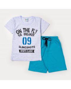 Conjunto Curto para Menino Blusa Branca Estampada e Short Azul Moletinho
