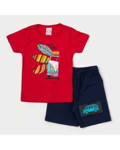 Conjunto Curto Infantil Masculino Camiseta Vermelha Surf e Bermuda Azul Marinho