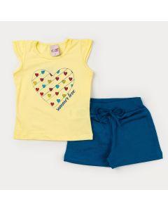 Conjunto de Verão para Menina Blusa Amarela Coração e Short Azul em Moletinho