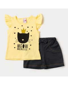 Conjunto Feminino Infantil de Verão Blusa Amarela Gatinho e Short em Cotton Jeans Preto