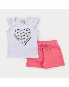Conjunto para Menina de Verão Blusa Branca Coração e Short Rosa
