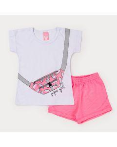 Conjunto Infantil Feminino Blusa Branca Estampada e Short Rosa Neon