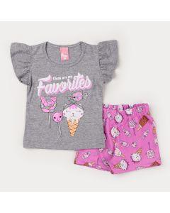 Conjunto de Verão Blusa Cinza Estampada e Short Rosa para Menina