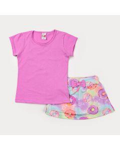 Conjunto de Verão para Menina Blusa Lilás de Strass e a Saia Tie Dye Donuts