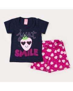Conjunto Curto para Menina Blusa Marinho Moranguinho e Short Pink Estampado
