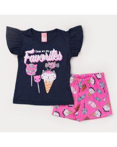 Conjunto Curto para Menina Blusa Marinho Estampada e Short Pink