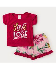 Conjunto Verão Menina Blusa Pink estampada Short Rosa Floral