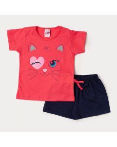 Conjunto Verão Short Moletinho Marinho e Blusa Rosa Gatinho para Menina