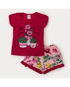 Conjunto Verão  Infantil Feminino Blusa Pink Estampada e Short Rosa Floral