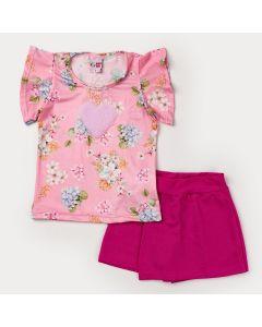 Conjunto Curto Menina Blusa Rosa Floral Coração e Short Saia Pink