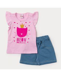 Conjunto de Verão Infantil Feminino Blusa Rosa Gatinho e Short em Cotton Jeans Azul