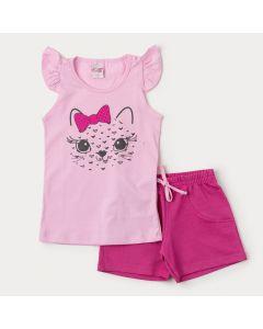 Conjunto Curto Infantil Feminino Blusa Rosa Tigre e Short Pink