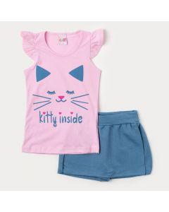 Conjunto de Verão Blusa Rosa Gatinho e Short Saia em Cotton Jeans Azul para Menina