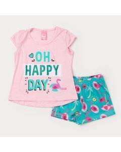 Conjunto Curto para Menina Blusa Rosa Estampada e Short Verde Flamingo
