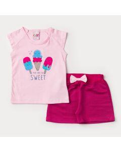 Conjunto de Verão Menina Blusa Rosa Sorvete e Short Pink com Laço
