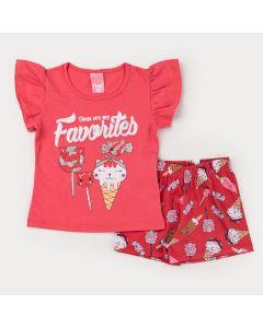 Conjunto para Menina Blusa Rosa Estampada e Short Vermelho