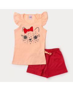 Conjunto Curto Infantil Feminino Blusa Salmão Tigre e Short Vermelho