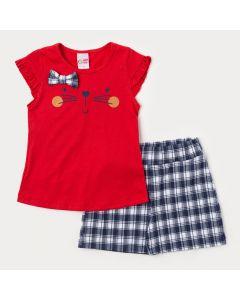 Roupa de Verão para Menina Short Marinho Xadrez e Blusa Vermelha Gatinho