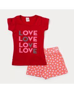 Conjunto Infantil Feminino Blusa Vermelha Love e Short Salmão Estampado