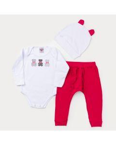 Conjunto para Menina Body Branco Urso com Touca Branca e Calça Pink