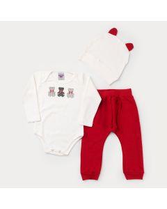 Conjunto para Menina Body Marfim Urso com Touca Marfim e Calça Vermelha