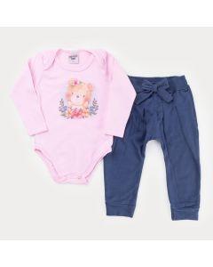 Conjunto Infantil para Menina Body Rosa Urso com Faixa de Cabelo e Calça Marinho