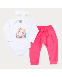 Conjunto Infantil para Menina Body Branco Urso com Faixa de Cabelo e Calça Pink
