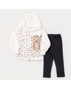 Conjunto de Frio para Menina Jaqueta com Capuz Marfim Tigre e Legging Preta