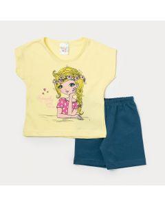 Conjunto Feminino Infantil Camiseta Amarela Estampada e Bermuda Verde