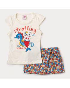 Conjunto Curto Infantil Feminino Blusa Marfim e Short Saia Estampado de Conchas