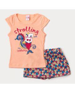 Conjunto Curto Infantil Feminino Blusa Salmão e Short Saia Estampado de Conchas
