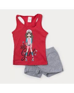Conjunto de Roupa de Verão para Menina Regata Vermelha Estampada e Short Saia Mescla
