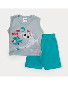 Conjunto de Verão para Bebê Menino Regata Cinza Peixe e Bermuda Verde