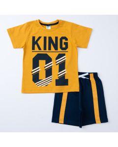 Conjunto de Verão Menino Blusa Amarela Estampada e Short Marinho
