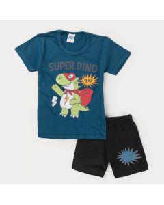 Conjunto Curto Infantil Menino Blusa Azul Dinossauro e Bermuda Preta