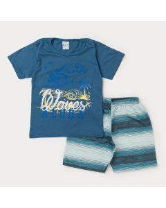 Conjunto Curto Infantil Masculino Blusa Azul Praia e Short Listrado