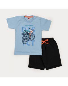 Conjunto Curto Infantil Masculino Blusa Azul Moto e Bermuda Preta