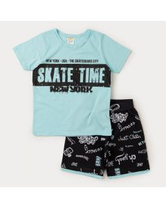 Conjunto Blusa Azul Skate e Bermuda Preta Estampada Infantil Masculino
